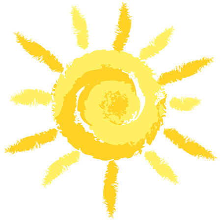Isolated Cute Crayon Sun, Vector Image for Your Projects Vector