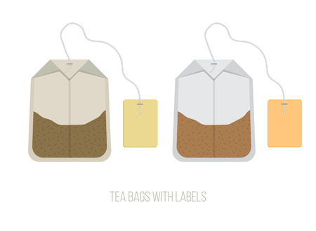 ceylon: Isolated Natural Tea Bags with Labels, Flat Vector Illustration for Your Projects