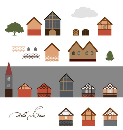residential neighborhood: European  Town Buildings, Vector Illustrations Set for Your Projects