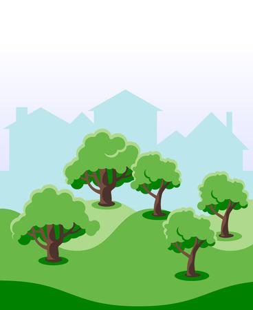 home garden: Ecological Home Garden Tree Environment, Flat Vector Illustration Illustration