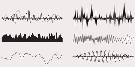 Audio Music Sound Wave, Vector Set Illustration