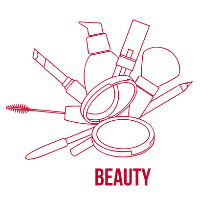 beauty make up: Beauty Make Up Tools Set, Contour Vector Illustration