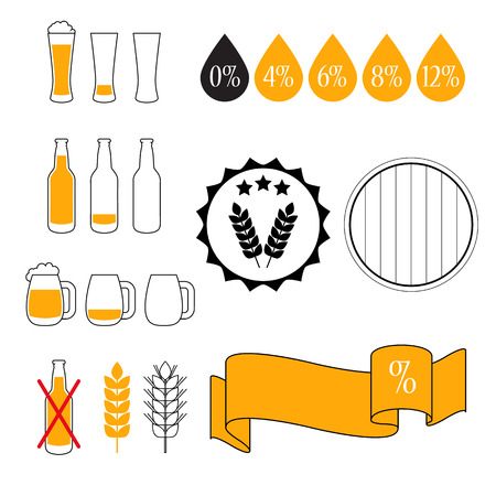 drunk test: Alcohol Content Level Test, isolated Vector Icon set