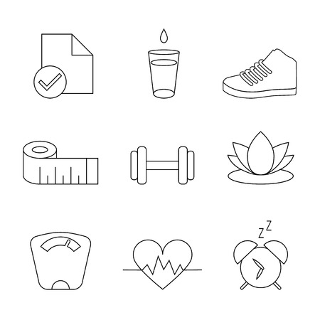 Weight Loss, Diet, Fitness Organizer Tracking Isolated Symbols, Vector Line Icon Set Illustration
