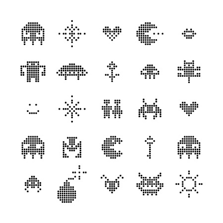 space invader: Retro Video Game Isolated Pixel Monster Set, Vector
