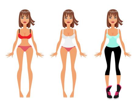 Weight Loss, Diet and Fitness Dress Up Model Girl, Flat Vector Illustration Vektorové ilustrace