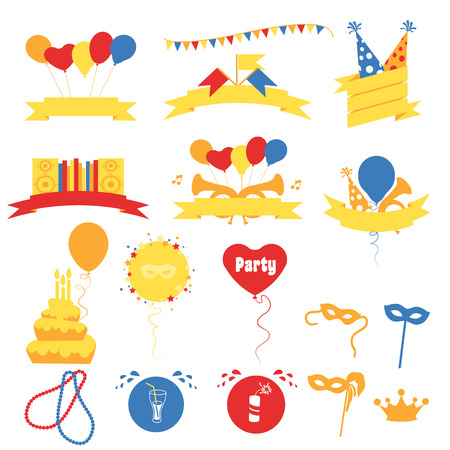speaker box: Birthday Party Celebration Banners, Flat Vector Illustration Vectores