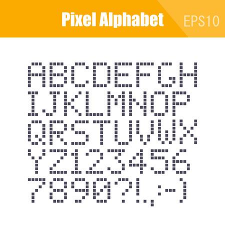 Digital Font Isolated Pixel Alphabet, Vector 일러스트