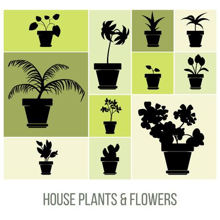 Plantas y Flores en Pot Siluetas House, ilustración vectorial