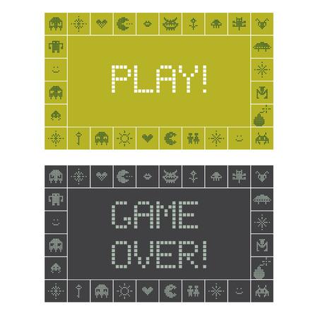 renuncia: Juega y Game Over Notificaci�n de pantalla Vectores