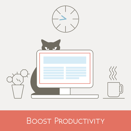 boost: Boost Work Productivity at Office Desk Computer, Line Vector Illustration