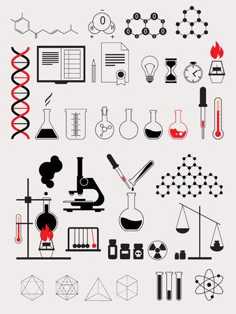 bio hazardous: Alchemy Science Lab Test, Contour Vector Icon Set Illustration