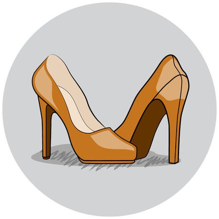 inked: Women Shoes Illustration, Flat Inked Vector