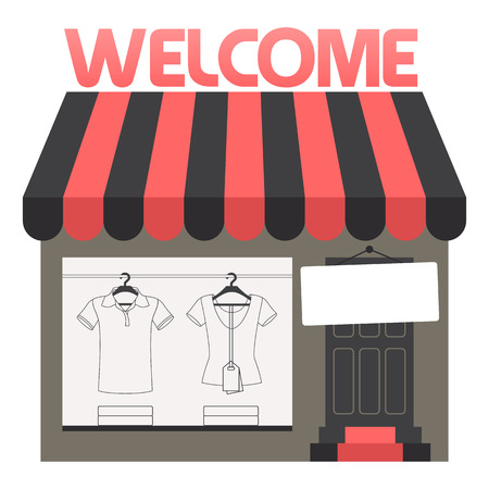 clothing shop: Online Clothing Shop Window Display, Isolated Flat Vector Logotype