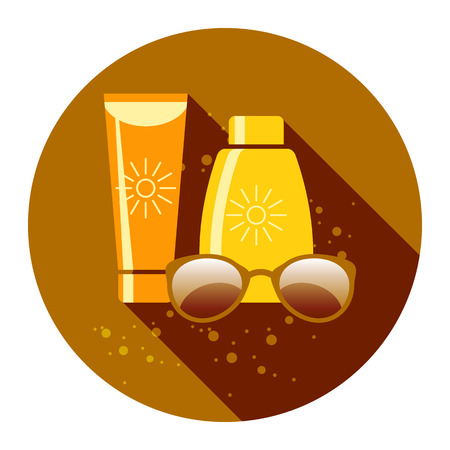 sun protection: Summer Sun Protection Flat Vector Illustration