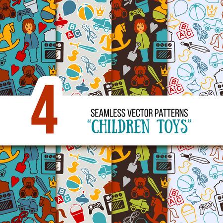 Children Toys Playground Seamless Vector Pattern Set