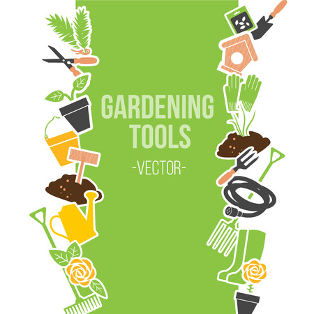 Spring Gardening Tools Set, Vector Illustration