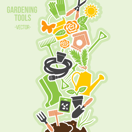 Spring Gardening Tools Set, Vector Illustration