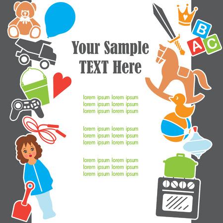 suprise: Children Toys Text Template Frame Card, Vector Illustration Illustration
