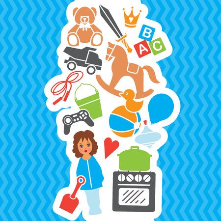suprise: Children Toys Gift Shop Birthday Set, Vector Illustration
