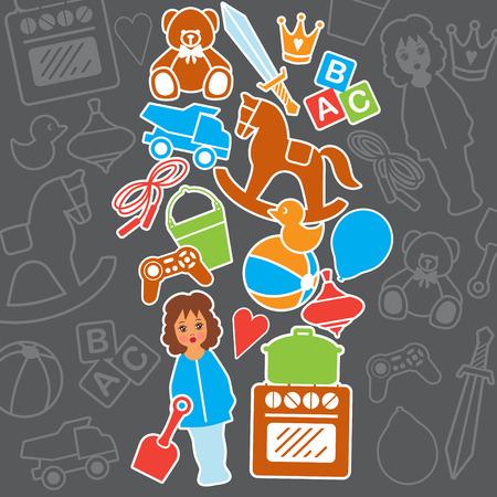 family park: Children Toys Gift Shop Birthday Card, Vector Illustration