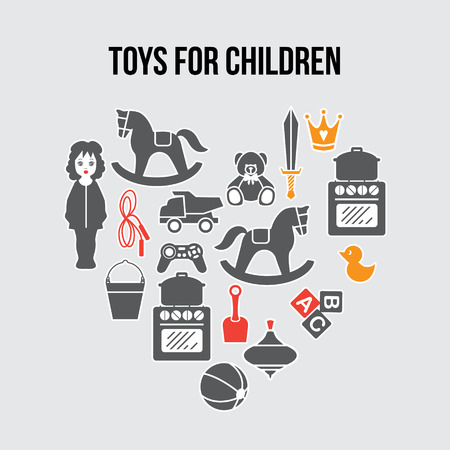 Heart Shape Children Toys Gift Shop Card, Vector llustration 일러스트