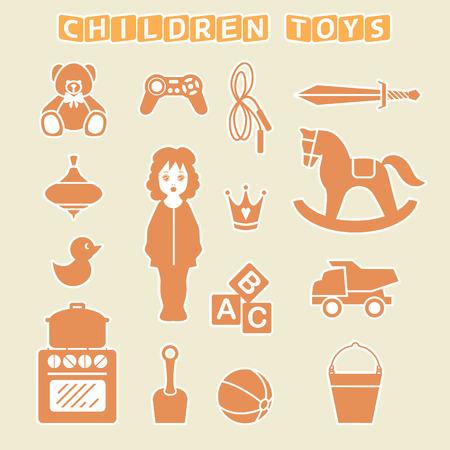 Children Toys Gift Shop Set, Vector Illustration