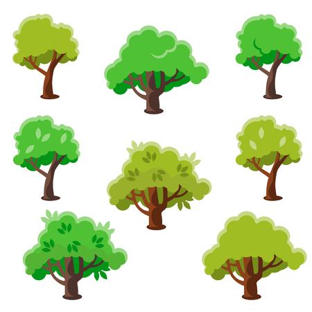arboles de caricatura: Árbol aislado conjunto de dibujos animados, ilustración vectorial Flat