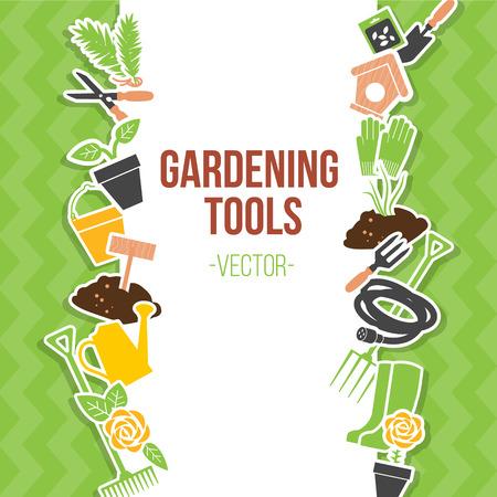 Primavera herramientas de jardinería Conjunto, ilustración vectorial Ilustración de vector