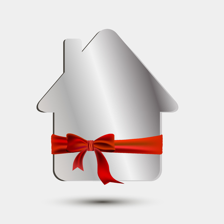 tenancy: Paper silver house with a red bow and ribbon Illustration