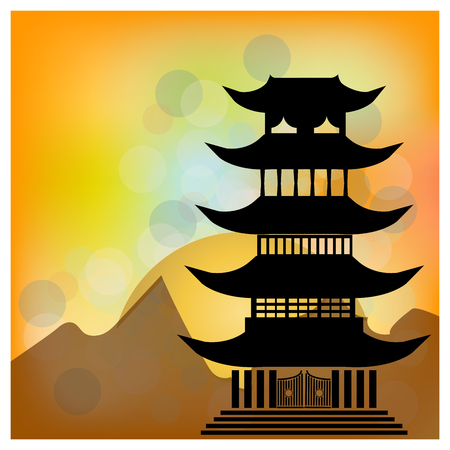 Chinese village on the lake with pagoda and sun. Character happiness Illustration