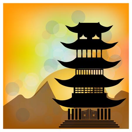 Pueblo chino en el lago con la pagoda y el sol. Felicidad Carácter