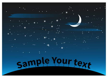 Night landscape with clouds stars and a moon for Halloween design