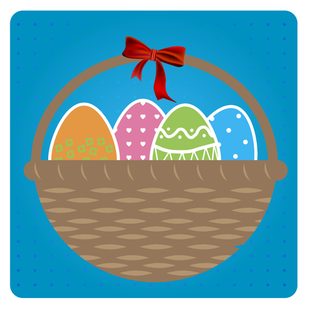 wicker: Basket full of colored Easter eggs in flat design, in vector