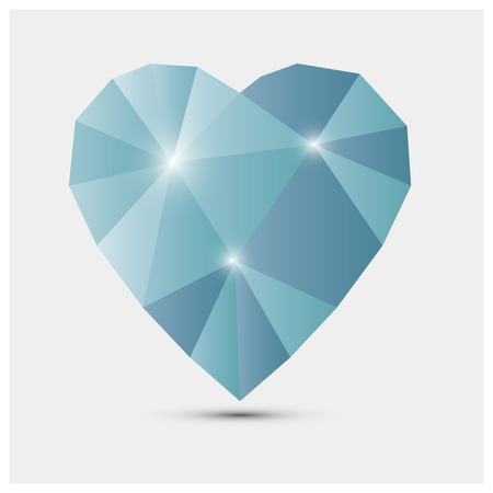 crystalline: Blue heart made of glass with glitter