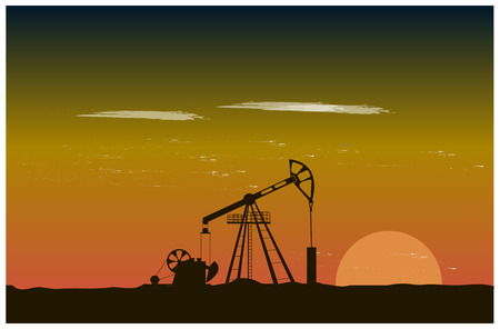 oil well: Oil well piston pumps at sunset Illustration
