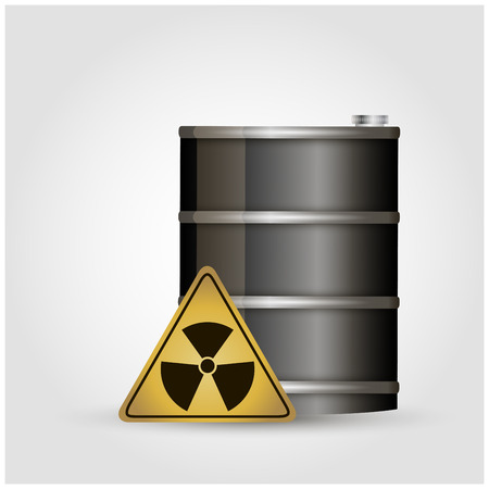 nuclear waste: Vector illustration of yellow metal barrel with nuclear waste