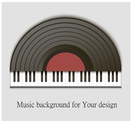 lp: New gramophone vinyl LP record with red label. Black musical long play album disc 33 rpm. old technology Illustration
