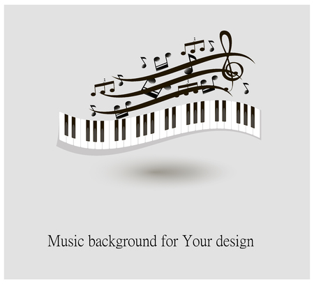 Black and white piano keys and music notes vector illustration