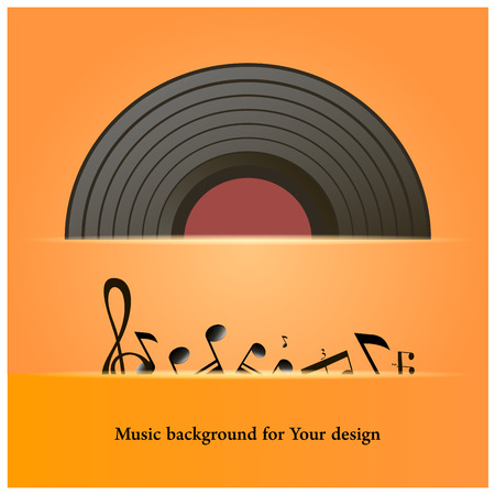 lay down: Illustration of vinyl record or compact disc and music notes - hand drawn style