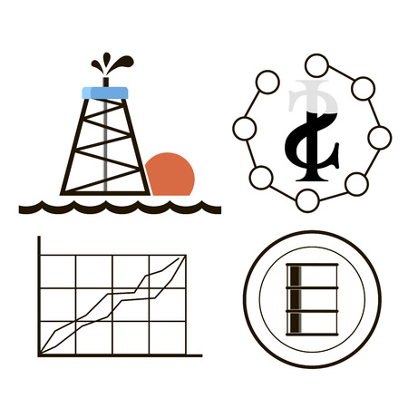 tanker truck: Oil industry gasoline processing symbols icons set with tanker truck petroleum can and pump isolated illustration