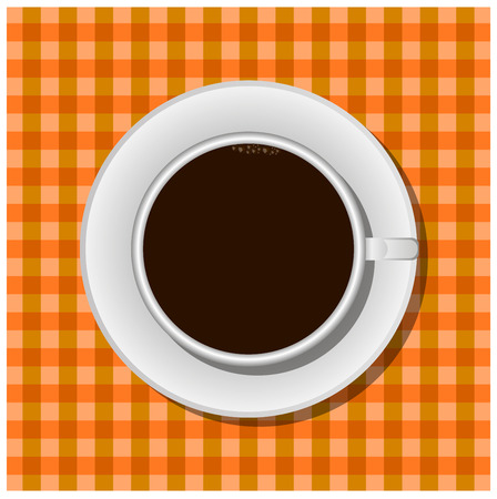 expresso: Cup of hot drink on brown cloth