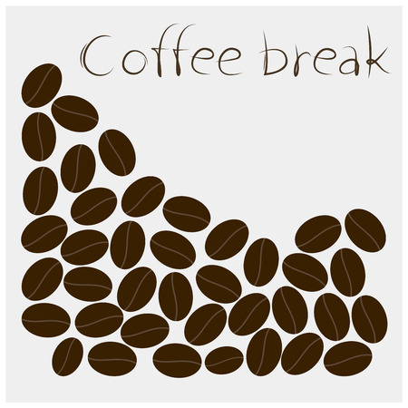 white beans: coffee beans on white background. Illustration