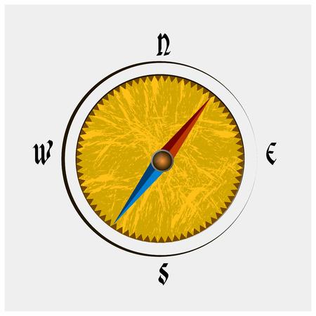 Vintage Grunge Compass Çizim