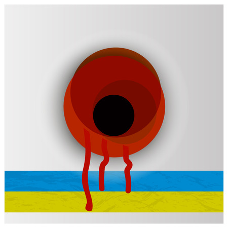 world war 2: The national flag of Ukraine and poppy flower symbol of the memory of World War 2