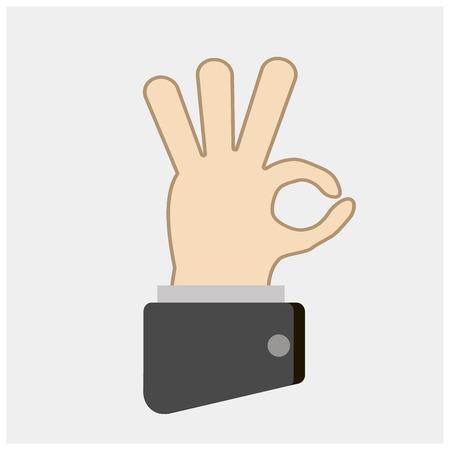Hand OK sign. Communication gestures concept. Çizim