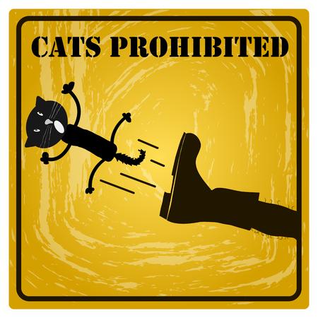 prohibido: gatos señal de prohibición