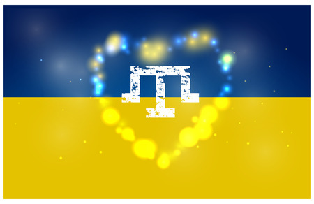 The symbol of the Crimean Tatars against the background of Ukraine