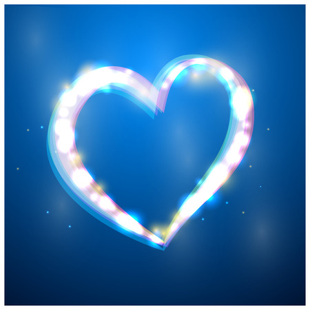 heart with flare on blue background