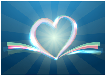 Blue ribbon banner in the shape of heart isolated on white background Çizim